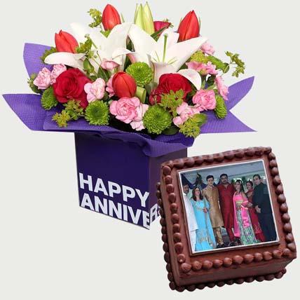 Mixed Birthday Flowers & Chocolate Cake