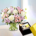 Pink and White Floral Bunch With Patchi Chocolates