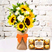 Sunflower Galore Bunch With Chocolates