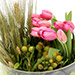 Pink Tulips With Pebbles Glass Vase Arrangement SG